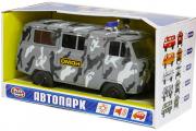 УАЗ-452 микроавтобус 'ОМОН' (свет, звук), серый камуфляж (1/24)