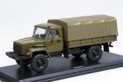 Горький-33081 бортовой с тентом (Д-245.7 Diesel Turbo) , хаки (1/43)