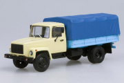 Горький-33073 бортовой с тентом, бежевый/голубой/синий (1/43)