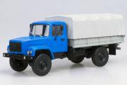 Горький-3308 бортовой с тентом, синий/серый/серый (1/43)