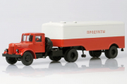 МАЗ-200В седельный тягач + полуприцеп МАЗ-5217, красный/серый (1/43)
