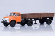 ЗИЛ-130В1 тягач (ранний) + полуприцеп ОДАЗ-885, оранжевый/коричневый (1/43)