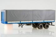 Полуприцеп МАЗ-93971 бортовой с тентом двухосный, синий/серый (1/43)