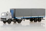 МАЗ-5432 седельный тягач + полуприцеп МАЗ-93971 двухосный, серый/синий (1/43)