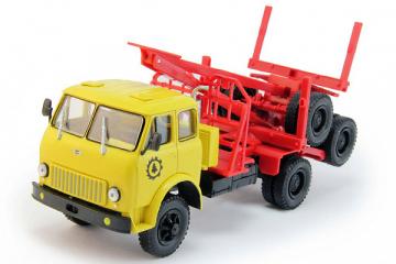 МАЗ-509 лесовоз с роспуском 1966-69, желтый/красный (1/43)