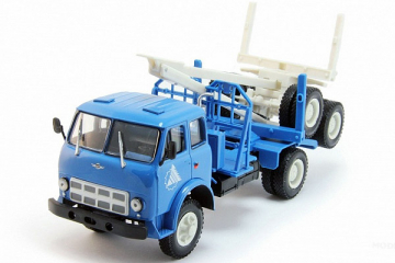 МАЗ-509А лесовоз с роспуском 1970-77, синий/белый (1/43)