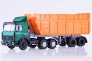 МАЗ-6422 тягач (поздний) с самосвальным полуприцепом МАЗ-9506-30, зеленый/оранжевый (1/43)