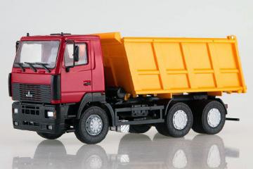 МАЗ-6501 самосвал 6х4, красный/желтый (1/43)