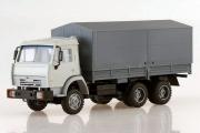 КАМАЗ-53205 бортовой с тентом 6х4, светло-серый/серый (1/43)
