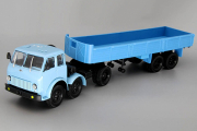 МАЗ-520 седельный тягач с полуприцепом МАЗ-5205 бортовым, синий (1/43)