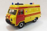 УАЗ-3962 высокая крыша 'Реанимация', желтый/красный металл (1/43)