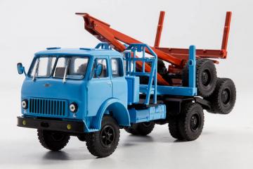 МАЗ-509 лесовоз с роспуском 1966, синий (1/43)