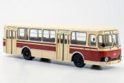 Автобус ЛиАЗ-677 городской, бежевый/вишневый (1/43)