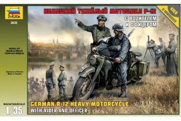 Мотоцикл BMW R-12 немецкий с водителем и офицером (1/35)