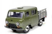 УАЗ-39094 'Фермер' бортовой без тента, хаки/серый, пластик (1/43)