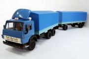 Камаз-5320 бортовой (со спойлером) с прицепом ГКБ-8350, синий (Ручная доработка) (1/43)