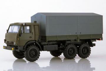 КАМАЗ-43101-010 бортовой с тентом, хаки/серый (1/43)