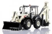 Трактор экскаватор-погрузчик, серый/белый (T100-D564), (1/50)