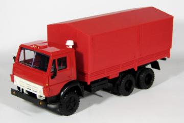 КАМАЗ-5320 бортовой с тентом, красный (1/43)