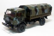 КАМАЗ-4350 бортовой с тентом, камуфляж хаки (1/43)
