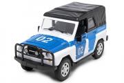 УАЗ-469 'Полиция 02' (свет, звук), белый/синий (1/24)