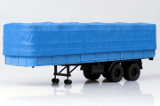 Полуприцеп МАЗ-5205 бортовой двухосный с тентом 1972, голубой (1/43)