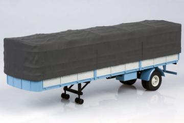 Полуприцеп МАЗ-9380-2 бортовой одноосный с тентом, голубой/серый (1/43)