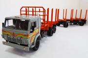 Камаз-53212 сортиментовоз с прицепом ГКБ-8350, серый/оранжевый (Ручная доработка) (1/43)