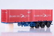 Полуприцеп-контейнеровоз МАЗ-938920 с контейнерами Hamburg Sud, красный/синий (1/43)