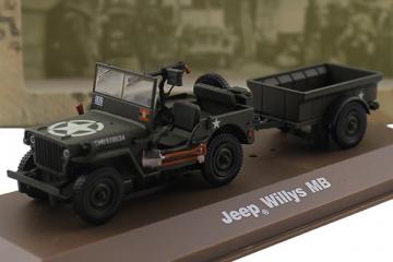 Jeep Willys MB с прицепом Франция - 1944, хаки (1/43)