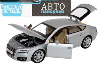 Audi A7, серебристый (свет, звук, инерция) (1/24)