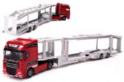 Седельный тягач Kaidiwei с полуприцепом-автовозом, красный/серый (1/50)