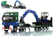 Седельный тягач Kaidiwei с тралом и экскаватором, синий/зеленый (1/50)