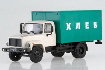 Горький-3307 фургон 'Хлеб', белый/зеленый (1/43)