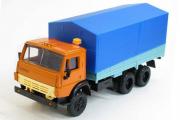 КАМАЗ-5320 бортовой с тентом, оранжевый/синий (1/43)