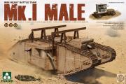 Танк Mk.I Male английский с краном и тележкой WWI (1/35)