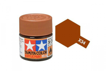 Краска X-34 коричневый металлик акрил глянцевая (Metallic Brown) 10 мл.