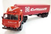 КАМАЗ-54112 тягач со спойлером с полуприцепом ОДАЗ-9370 с тентом 'Совтрансавто', красный (1/43)