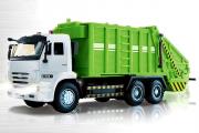 КАМАЗ-65115 мусоровоз (свет, звук), белый/зеленый (1/38)