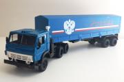 КАМАЗ-5410 тягач с полуприцепом ОДАЗ-9370 с тентом 'Россия', синий (1/43)