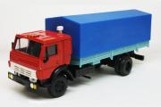 КАМАЗ-5325 бортовой с тентом, красный/синий (1/43)