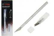 Нож скальпель Tundra Basic алюминиевая ручка, 5 лезвий дополнительно