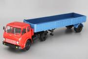 МАЗ-504 тягач с полуприцепом МАЗ-9380 бортовым одноосным 1981, красный/синий (1/43)