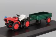 Трактор TZ 4K-14 с прицепом, красный/зеленый (1/43)