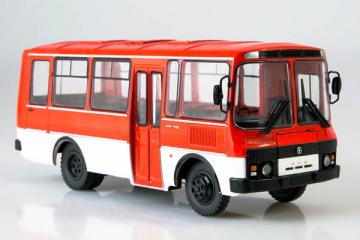 Автобус ПАЗ-3205, красный/белый (1/43)