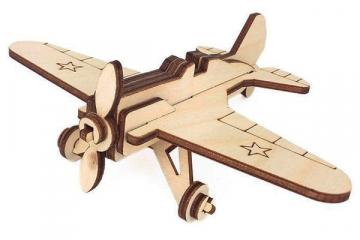 Конструктор 'Самолет И-16' 145х110х60 (15 дет). Дерево