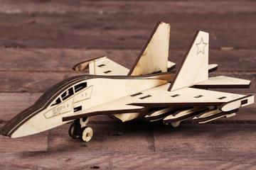 Конструктор 'Самолет Истребитель' 275х185х100 мм (59 дет). Дерево