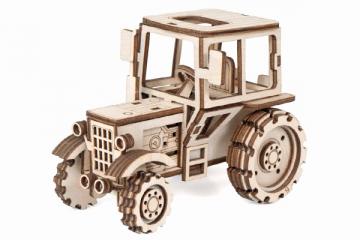 Конструктор 'Трактор' 125х70х90 мм (69 дет). Дерево. Клей ПВА. Наждачка