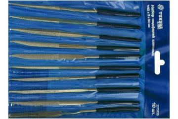 Надфили набор Tundra Baisic 10 шт. 140х50х3 мм алмазные, синий
