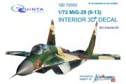 1/72 3D Декаль интерьера кабины МиГ-29 9-13 (Звезда 7278)